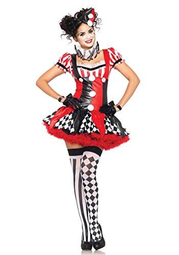 (Karneval-Klamotten Harlekin Clown Pierrot Frauen Damen-Kostüm sexy schwarz-weiß-rot Kleid Halskrause inkl. Mini-Hut Größe 34/36)