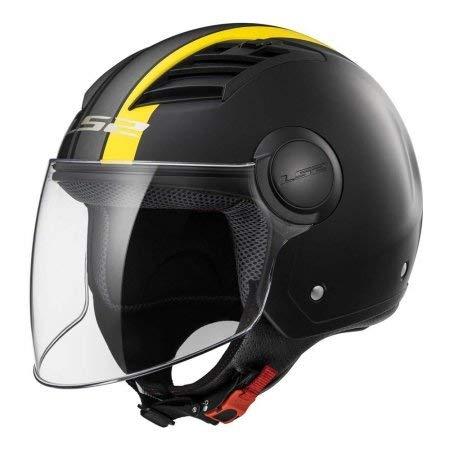 LS2 Casco Moto Of562 Airflow Metropolis, Matt Black/Yellow Long, M