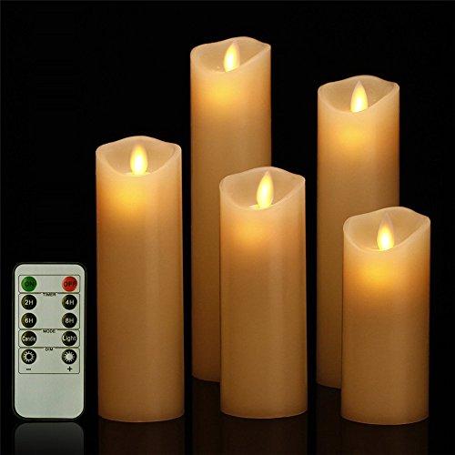 GBATERI 5 Pack LED Flammenlose Kerze Dripless Echt Flammen Effekt LED Echtwachskerzen Batteriebetrieben Realistische Tanzen Elektrische Kerzen Einschließen 10 Key Fernbedienung und Timer Für Geschenke und Dekoration verwenden-Elfenbeinfarbe