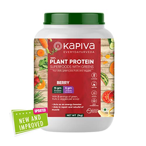 Kapiva 100% Plant Protein Superfoods With Greens Nutrition Powder (For Good Appetite & Muscles) - Berry, 1 KG
