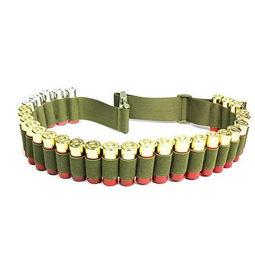 Gexgune 120 * 5 cm Tactical 27 Shortgun Shell Bandelier Gürtel 12 Gauge Munition Beutel Kampf Jagd Patrone Gürtel (Grün) -