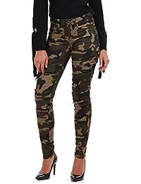La Modeuse - Jeans coupe slim à imprimé militaire