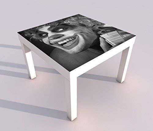 Design - Tisch mit UV Druck 55x55cm schwarz weiß Horror Clown Maske gruselig Gesicht Spieltisch Lack Tische Bild Bilder Kinderzimmer Möbel 18A1526, Tisch 1:55x55cm (Maske Weißen Gruseligen)