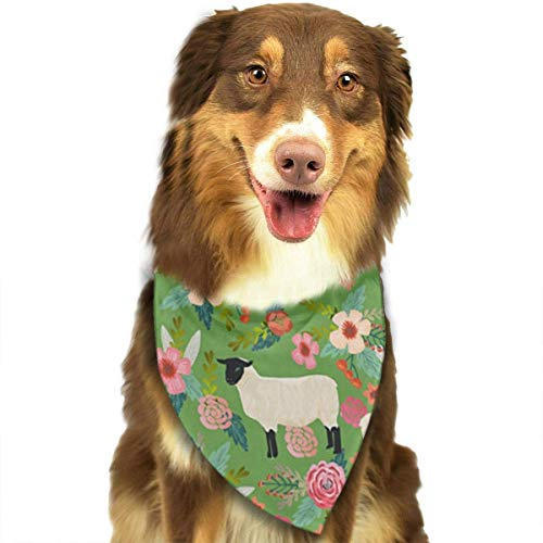 Rghkjlp Suffolk Sheep Farm Animal Floral Dog Bandana Collars Triangle Neckerchief Puppy Bibs Scarfs Pet Scarfs Cats and Baby Scarf Towel