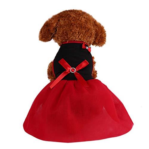 YWLINK Haustier Einfarbig Party Kleid FrüHling Und Sommer Atmungsaktiver DüNner Rock Prinzessin Hund Kleidung Haustier Retro(Schwarz,M) (Rosa Und Schwarze Barbie Party Supplies)