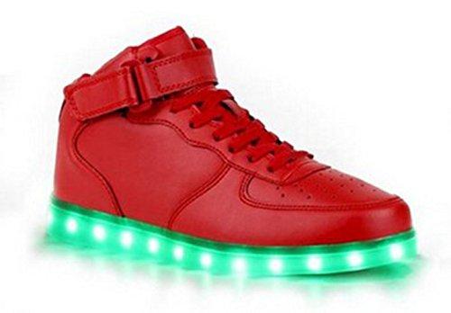 (Present:kleines Handtuch)JUNGLEST® 7 Farbe Wechseln USB aufladen LED-Licht Leuchtend Mode Sportschuhe Freizeitschuhe Outdoorschuhe Laufschuhe Schuhe Sneaker f Rot