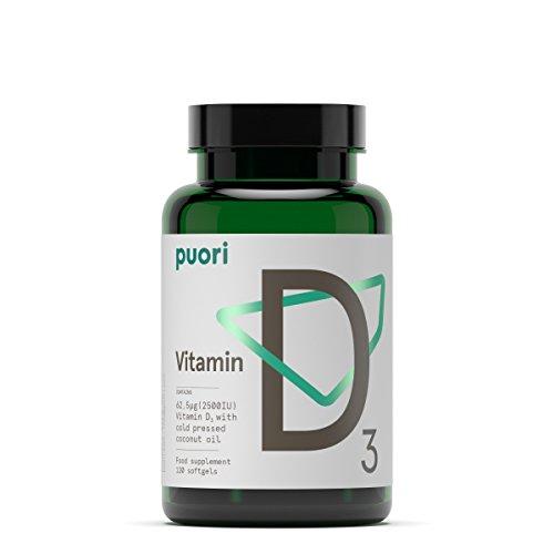 Vitamine D3 en gélules 2500 IU - 120 gélules de vitamine D sans OGM - Complexe cholécalciférol - Supplément naturel pour tous
