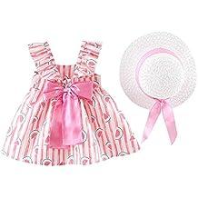 dab1be00228 Moneycom Enfant en Bas âge Bébé Filles Floral Froncée Arc Pastèque Robe de  Princesse Robe Chapeau