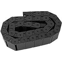 Cadena de arrastre, 1 metro R38 Cadena de arrastre de nylon negro Portador de alambre Correa de remolque de 18x50 mm para máquina CNC de impresora 3D, hecha de Nylon reforzado PA66