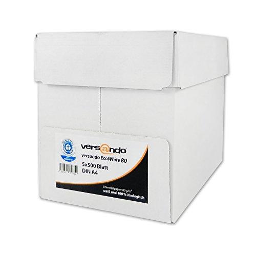 2500 Blatt Papier versando EcoWhite 80 A4 80g Öko-Weiß Kopierpapier Druckerpapier Laserpapier Faxpapier Duplex Umweltpapier