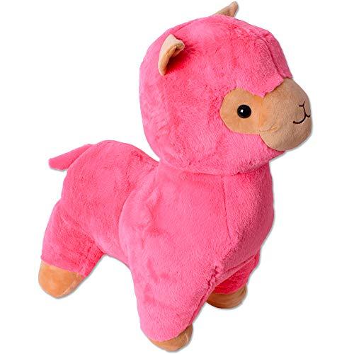TE-Trend XXL Plüsch Alpaka Alpaca Lama Plüschtier Kuscheltier Deko Stofftier Kinder Baby Geschenk 65 cm weiß pink rosa (Lama-plüsch-stofftier)