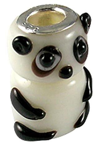 Panda Charm perle à Murano en verre - Blanc - s