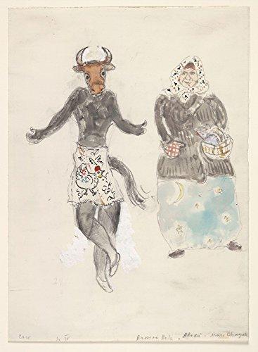 Das Museum Outlet–Marc Chagall–Eine Russische Baba und eine Kuh, Kostüm Design für Aleko, gespannte Leinwand Galerie verpackt. 96,5x 121,9cm