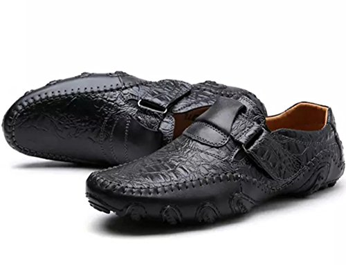 SZAWSL Herren Leder Schuhe Slipper Elegant Flache Loafers Bootsschuhe Derby Schwarz