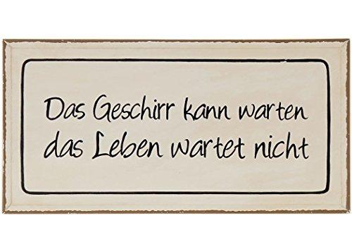condecoro Schild - Das Geschirr kann.. - Shabby Blechschild Wandbild Deko Wandobjekt (Landhaus Geschirr)
