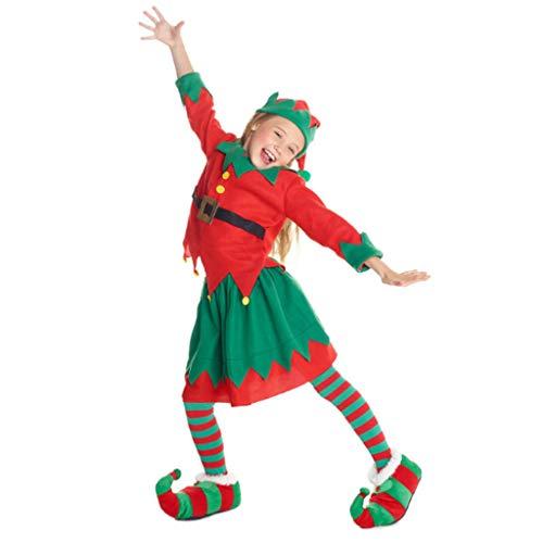 Helper Santa's Kostüm Elf - DONGBALA Mädchen Christmas Elf Kostüm, Kinder Festive Outfit Toyshop Santas Little Helper Für Partei-Abendkleid-Ausstattungs-Schule Spielen Karneval Enthält Hut + Bekleidung (Alter 5-10),130cm