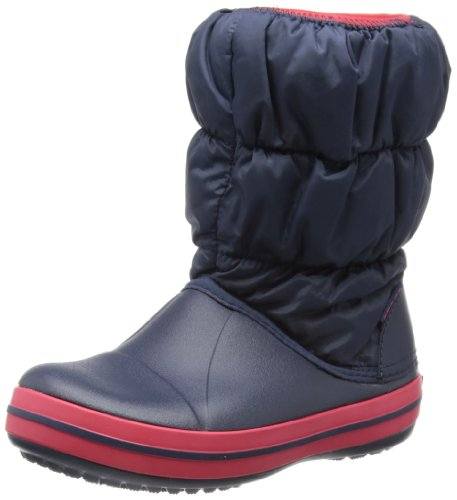 Crocs Winter Puff Boot Kids, Unisex - Kinder Schneestiefel, Blau (Navy/Red), 32/33 EU