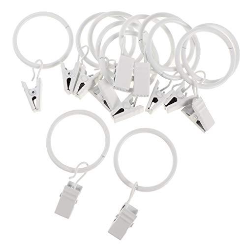 D DOLITY 12pcs Runde Metall Gardinenringe Vorhang Gardine Ringe mit Clip - Weißes Porzellan 25mm
