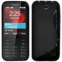 Custodia FIT in silicone rigido trasparente per Nokia 225 e Dual SIM, Nero