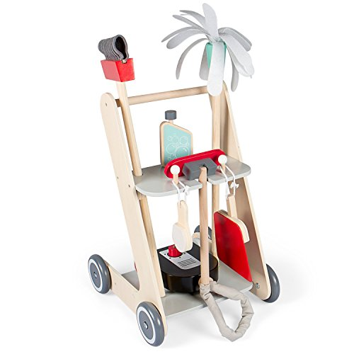 Kledio Kinder Reinigungswagen aus Holz FSC 100% in grau, Putzwagen 6-teilig, Holzspielzeug für Kinder ab 3 Jahren geeignet