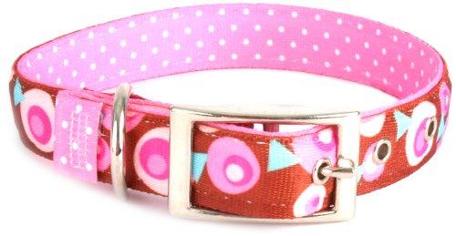 Yellow Dog Design Uptown Hundehalsband, Größe S, Metro Pink/Braun auf Rosa gepunktet