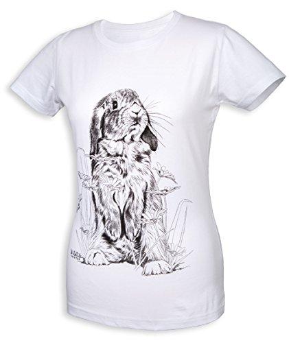 wildlife-shirts Bunny Damen T-Shirt Hasen-Motiv in weiß Größe XXL