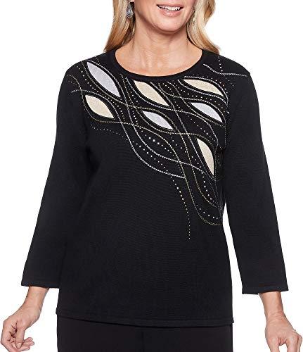 Alfred Dunner Damen Petite Metallic Shimmer Applique Yoke sweaterside Slits Pullover, schwarz, Zierlichs-Größe Medium -