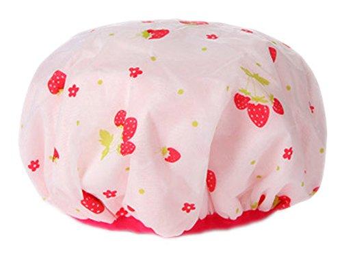 Chapeau de douche multifonctionnel double de Poly et de PVC, fraise mignonne