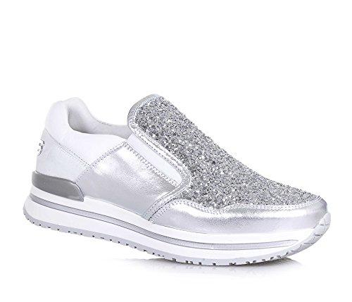 4us-cesare-paciotti-chaussure-argent-et-blanche-en-cuir-et-glitter-pieces-elastiques-laterales-logo-