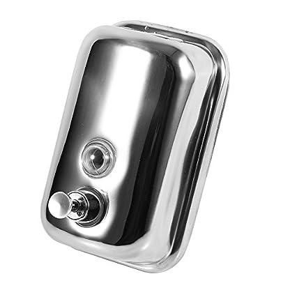 Dispensador de Jabón de Pared Transparente Dispensador de Loción de Jabón Acero Inoxidable Dispensador Caja de Jabón Líquido para Baño Cocina Hotel 500ml