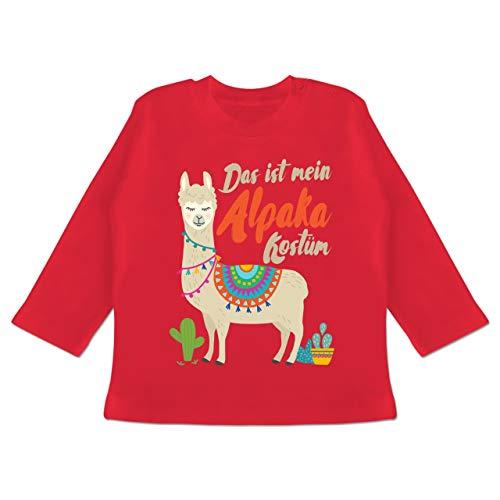 Karneval und Fasching Baby - Das ist Mein Alpaka Kostüm - 3-6 Monate - Rot - BZ11 - Baby T-Shirt Langarm (Für Kostüm Drei Personen)