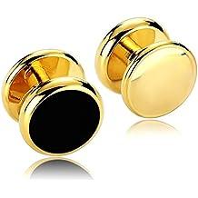 Daesar 2 Piezas Gemelos Hombre Rodio Plateado Oro Redondo Ágata Smoking Botones Set Camisa Alianzas de Boda