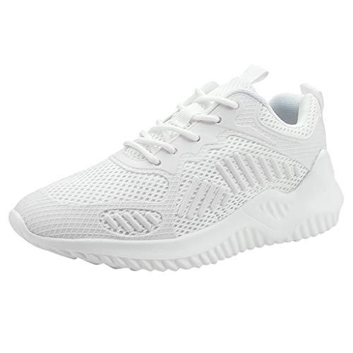 Scenxion Herren Damen Leichte Wanderschuhe Schnürschuhe Sneakers Mesh Go Running Turnschuhe Low Top Atmungsaktiv Sport Laufen für Unisex, Weiß - weiß - Größe: 37 EU -