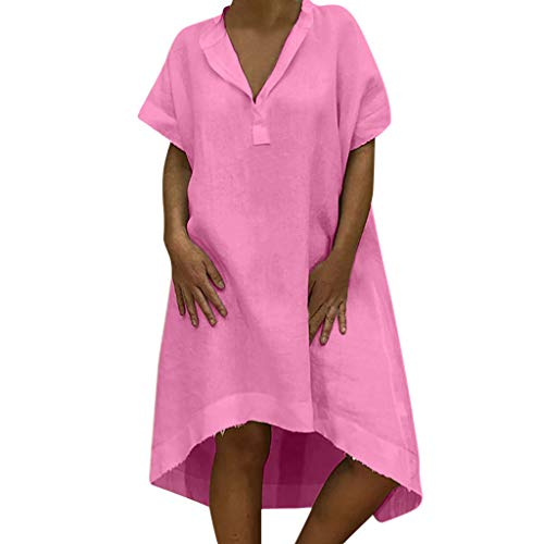 kolila Linen Kleid Damen Sommer Einfaches Einfarbig V-Ausschnitt kurzen Ärmeln Kleid Lässiges asymmetrisches knielanges Kleide