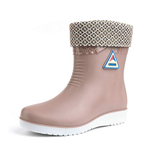 Rain Boots for Women Wellingtons Boots Waterproof Ladies Rubber Water Shoes Winter Warm Fur Lined Mid Calf Work Boots Slip on Platform 2.9cm Beige Black Blue Red UK3.5-UK7.5(EU36-EU41)