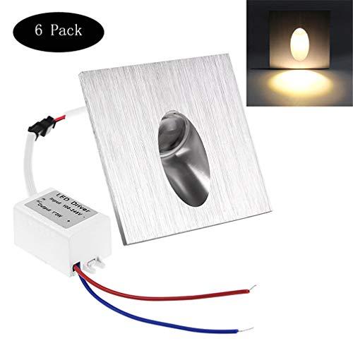 LHY LIGHT 6 STÜCKE Treppenlicht, LED Embedded Square Wandleuchte Aluminium Wasserdicht Treppenlicht Outdoor Dekoratives Licht Indoor Nachtlicht,warmwhite (Light Square Einbauleuchte)