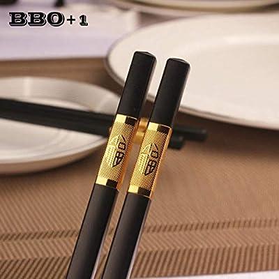 Zoomy far Lebensmittel Stäbchen 1 Paar Glas-Legierung Schwarz Chop Stick China Wiederverwendbare Chopstick gesetzt Koran japanischen Besteck: