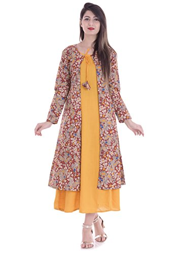 Mystique India Jacket style Pocket detail Women's Yellow Kalamkari Print Cotton Kurta