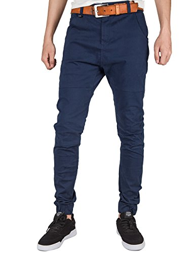 Pants Twill Jogger Männer Für (ITALY MORN Herren Chino Jogger Hose Sweatpants Elastisch Manschette Hose Jogging Baggy Hose Slim Trainings Pants Twill Schwarz (2X-Large, Marine Blau))