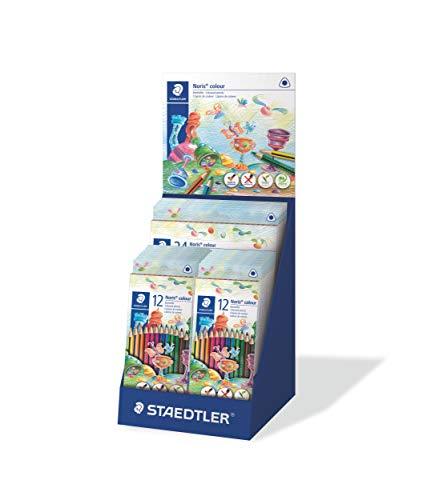 Staedtler ST 187 CA-1 - Matite Colorate Noris Colour, Elevata Resistenza alla Rottura, Forma Triangolare, Superficie Morbida ergonomica, Materiale WOPEX, Set con 5 x 24 e 20 x 12 astucci, Multicolore