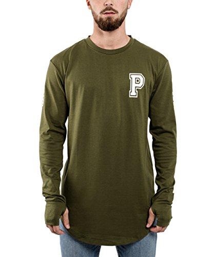 Phoenix Allstar Oversize Langarm T-Shirt Longshirt 09 Print Herren Tee Langes Stylisches Shirt Sweater Olive - L