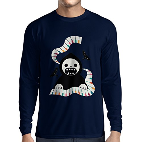 Langarm Herren t shirts Halloween horror nights - The Death is playing on piano - cool scarry design (Medium Blau - Song Minecraft Halloween