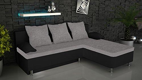 "VCM Ecksofa Bettsofa Schlafsofa Sofa Couch mit Schlaffunktion Gästebett Sofabett Schwarz/Grau 196x70x150 cm ""Stylosa"""