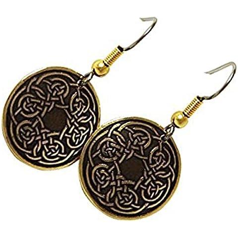 Handcrafted ottone inciso, Celtic Knot, Moda rotonda gli orecchini di goccia, Simboleggia Never-Ending Amore