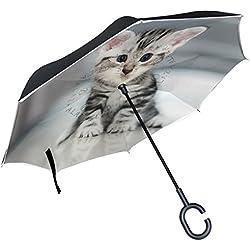 ALAZA americano Shorthair gato gatito paraguas invertido doble capa resistente al viento Reverse paraguas