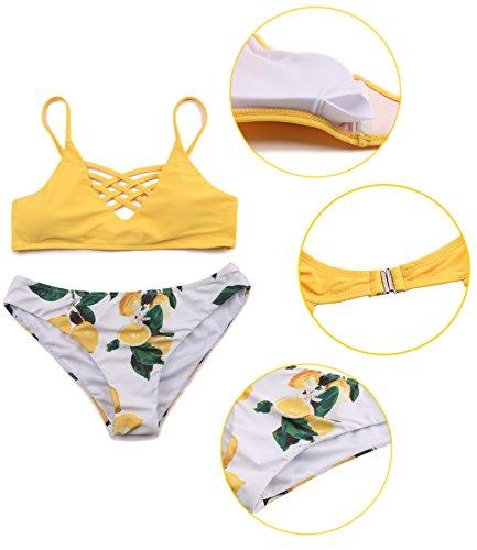 39d43941068c ... SHEKINI Damen Crossover Netz Gepolstert Bikini Set Zweiteilige  Strandkleidung Bandeau Strandmode Blumen Druck Bikinihose Muster A ...