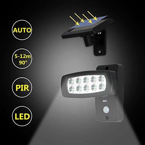 OUBO LED Solarleuchten mit Bewegungsmelder aussenleuchte 2 Modi, aussenlampe mit Sensor, für Garten, Garage, Patio, Zaun, Hof, Balkon, Terrasse, Haus, Auffahrt Wasserfest Schwarz