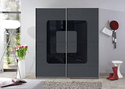 Wimex Schwebetürenschrank 180 cm Curve Schwebetürenschränke Anthrazit + Glas Schwarz L/B/H ca. 180/64/198 cm