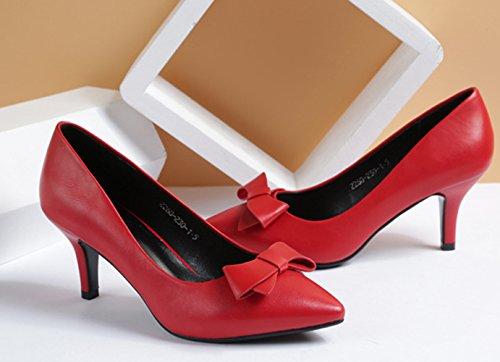 Damen Pumps Slip On Spitze Bowknot Stilettos Schöne Brautschuhe Rot
