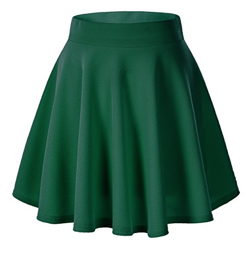 Urban goco donna moda svasata mini gonna da pattinatrice versatile elastica solida colore gonna verde scuro s